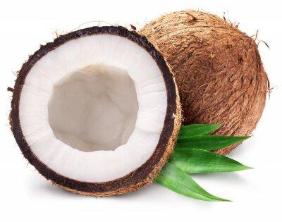 Sticker Noix de coco et ce est la moitié de feuilles.