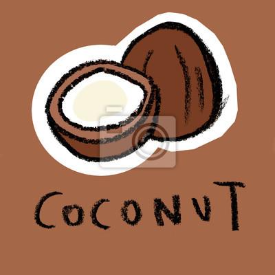 Noix de coco sur fond brun