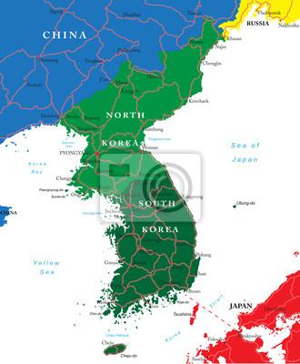 Nord et du Sud Carte de la Corée
