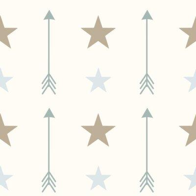 Sticker Nordique style couleurs flèches et étoiles seamless vecteur modèle fond Illustration