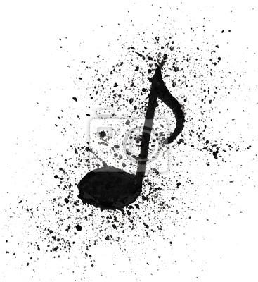 Sticker Notes de musique aquarelle peinte à la main de texture grunge Vector illustration