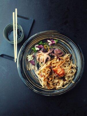 Sticker Nouilles Udon avec saumon et poulpe