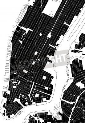 Sticker Nouveau, York, noir, blanc, ville, plan, rue, texture