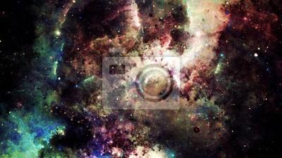 Sticker Numérique, résumé, clair, coloré, nébuleuse, galaxie ...