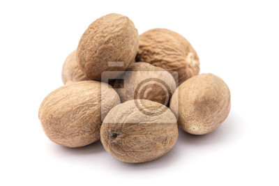Sticker nutmeg isolated on white background