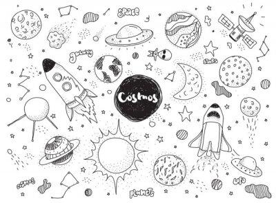 Sticker Objets cosmiques définis. Doodles vectoriels à la main. Rockets, planètes, constellations, ufo, étoiles, etc. Thème de l'espace.