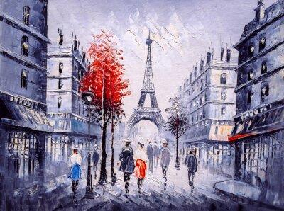 Sticker Oil Painting - Street View of Paris