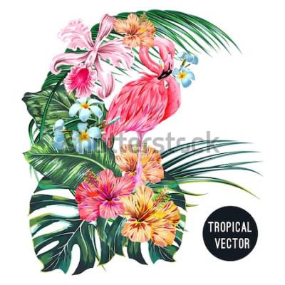 Sticker Oiseau flamant rose, fleurs tropicales, feuilles de palmier, monstera, plumeria, hibiscus, fleur d'orchidée, composition de feuilles de jungle. Illustration botanique de plantes exotiques de vecte