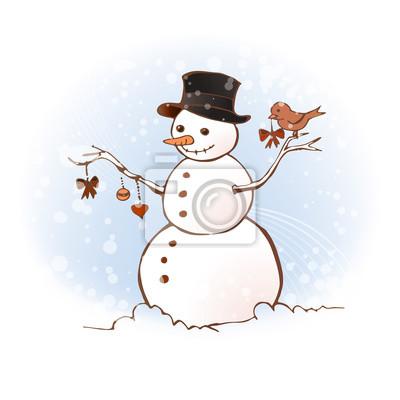 Oiseaux décorer un bonhomme de neige pour Noël