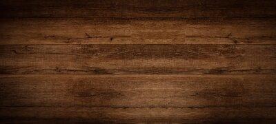 Sticker Old brown rustic dark grunge wooden timber texture - wood background banner.