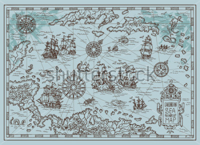 Sticker Old map of the Caribbean Sea with pirate ships, treasure islands, fantasy creatures. Pirate adventures, treasure hunt and old transportation concept. Hand drawn vector illustration, vintage background