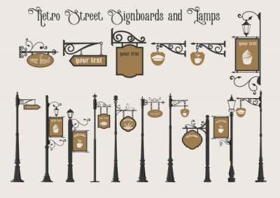 Sticker Old Street Signboards and Street Lamps on Pillar, Vintage Set, Pointers and Signs