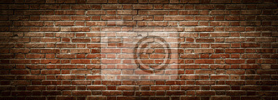 Sticker Old wall background with stained aged bricks