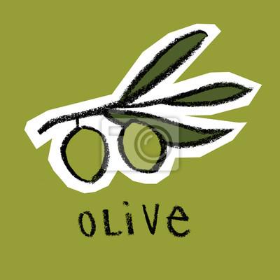 Olive, branche, vert, fond