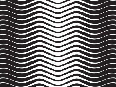 Sticker onde optique rayé fond abstrait en noir et blanc