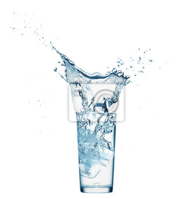 Sticker one glass of water with splash from falling ice cube, white background, isolated object