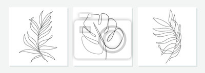 Sticker One line drawing vector monstera leaf and palm tree leaves. Modern single line art, aesthetic contour. Perfect for home decor such as posters, wall art, tote bag or t-shirt print, sticker, mobile case