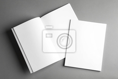 Sticker Open and closed blank brochures on grey background, top view. Mock up for design