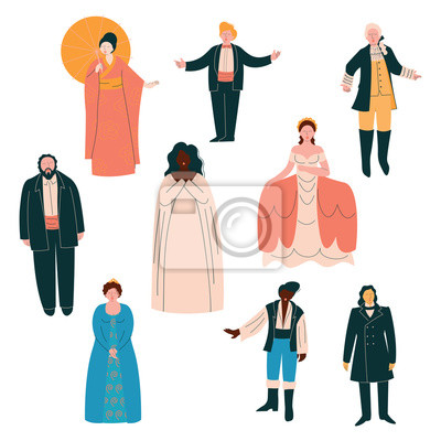 Sticker Opera Singers Set, Male and Female Singers in Elegant Clothing Performing on Stage Vector Illustration