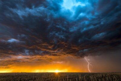 Sticker Orage au-dessus d'un champ à Roswell au Nouveau-Mexique