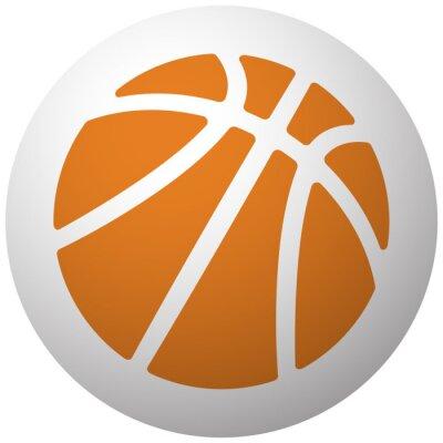 Sticker Orange, basket-ball, icône, sphère, isolé, blanc, fond