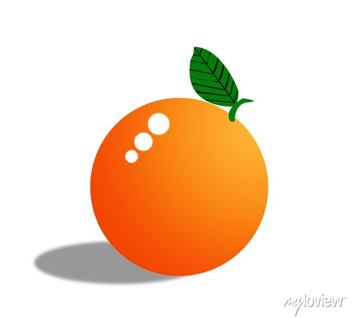 Sticker Orange, fruit, isolé