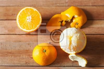 Orange, fruit, tranche, bois