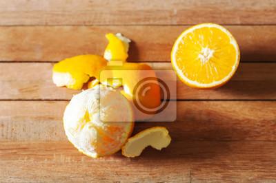 Orange, fruit, tranche, bois, table
