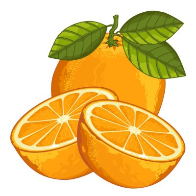 Sticker Orange isolé sur fond blanc.