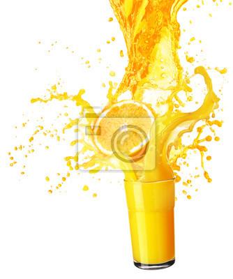 Sticker Orange, jus, éclaboussure, elle, fruits, isolé, blanc