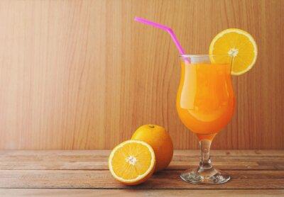 Orange, jus, frais, orange, bois, table