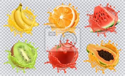 Sticker Orange, kiwis, banane, tomate, pastèque, jus de papaye. Fruits frais et éclaboussures, ensemble d'icônes vectorielles 3d