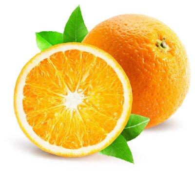 Sticker Orange, moitié, orange, isolé, blanc, fond