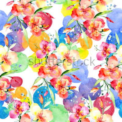 Sticker Orange violas bouquet botanical flowers. Wild spring leaf wildflower. Watercolor illustration set. Watercolour drawing fashion aquarelle. Seamless background pattern. Fabric wallpaper print texture.