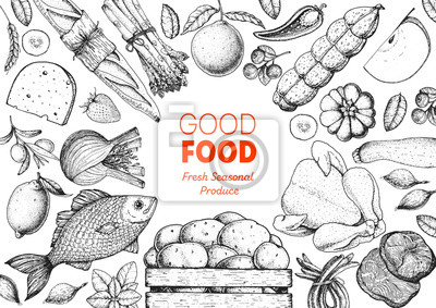 Sticker Organic food illustration. Farmers market design elements. Hand drawn sketch. Various food frame. Good food store concept.