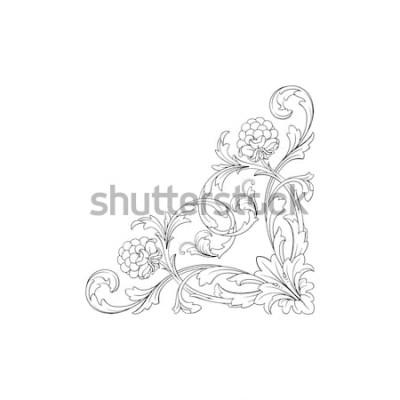 Sticker Ornement baroque avec filigrane en format vectoriel pour cadre de conception, modèle. Élément floral victorien ou damassé dessinés à la main vintage. Encre noire et blanche gravée.