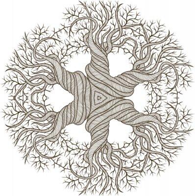 Sticker Ornement circulaire de l'arbre abstrait avec curling baril.