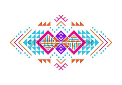 Sticker Ornement de style aztèque. Modélisme ornemental amérindien. Modèle décoratif tribal. Ornementation ethnique. Fond coloré.
