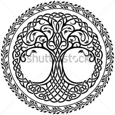 Sticker Ornement de vecteur, arbre de vie celtique décoratif avec bordure ronde florale