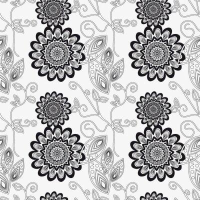 Sticker Ornement floral en noir et blanc.
