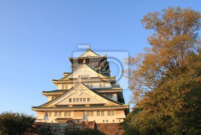 Osaka, château, Arbres, Coucher soleil, Japon