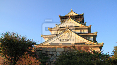 Osaka, château, Coucher soleil, Japon