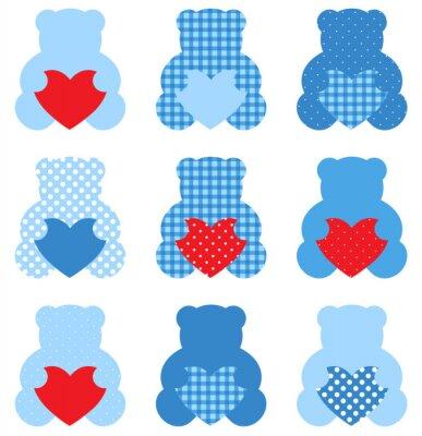 Sticker Ours de nounours mignon avec des coeurs ensemble isolé sur blanc (bleu et rouge)