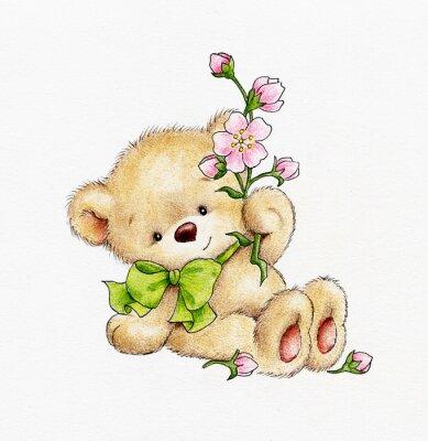 Sticker Ours en peluche mignonne avec des fleurs