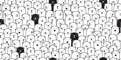 Sticker Ours modèle sans couture vecteur ours polaire race foulard isolé dessin animé illustration tuile fond répéter le papier peint doodle
