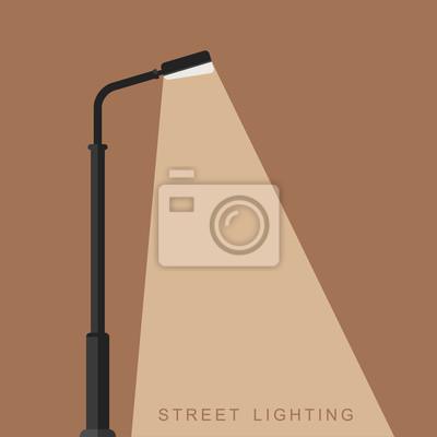 Sticker Outdoor lighting flat banner. Background with a luminous street lamppost.