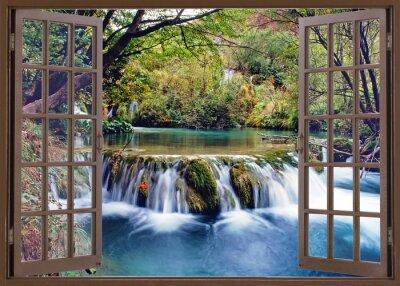 Sticker Ouvert, fenêtre, eau, ruisseau
