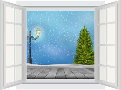 Sticker Ouvert, fenêtre, noël, arbre, lampadaire, hiver, fond