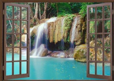 Sticker Ouvert, fenêtre, vue, profond, jungle, cascade