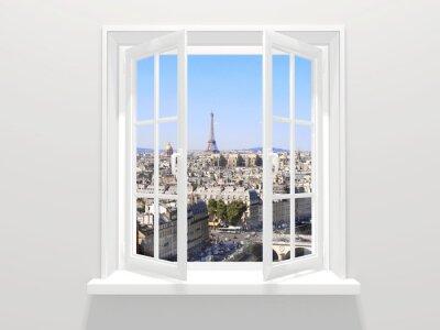 Sticker Ouvert, fenêtre, vue, tour Eiffel, paris